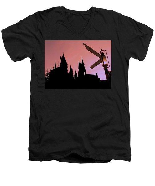 Men's V-Neck T-Shirt featuring the photograph Hogwarts Castle ... by Juergen Weiss
