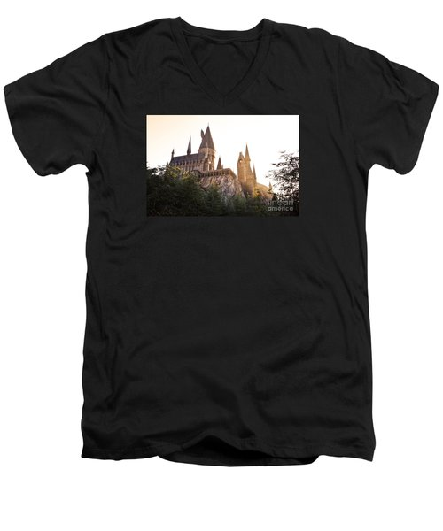 Men's V-Neck T-Shirt featuring the photograph Hogwarts Dusk by Rebecca Parker