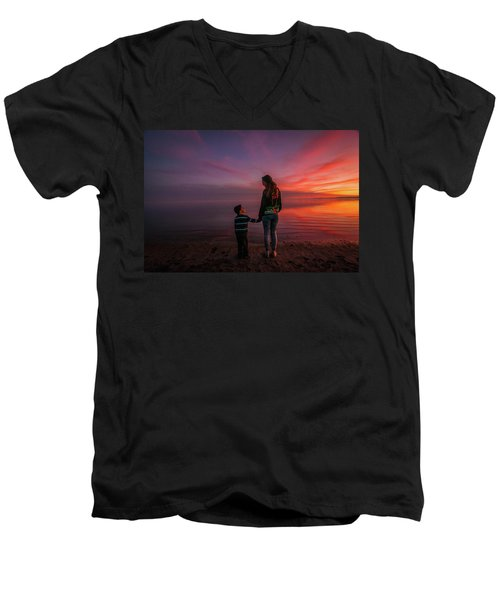 Hold My Hand Little Brother Men's V-Neck T-Shirt by Ralph Vazquez