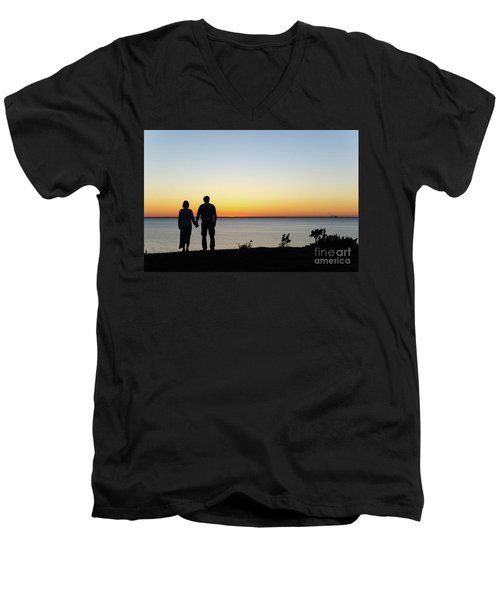 Men's V-Neck T-Shirt featuring the photograph Holding Hands By  Sunset  by Kennerth and Birgitta Kullman