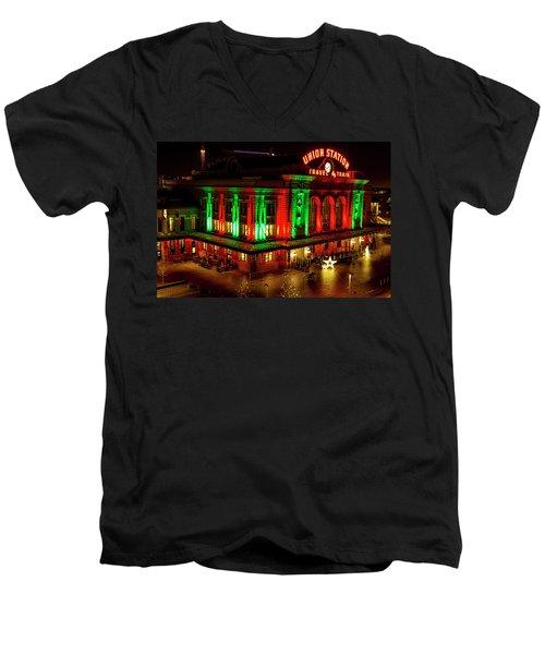 Holiday Lights At Union Station Denver Men's V-Neck T-Shirt by Teri Virbickis