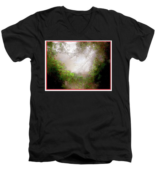 Men's V-Neck T-Shirt featuring the photograph Holly Heart by Bonnie Willis