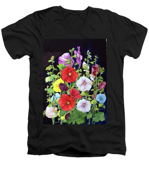 Hollyhocks Men's V-Neck T-Shirt