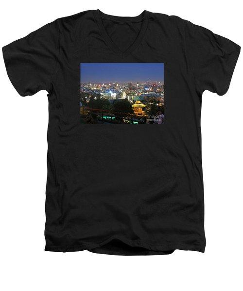Hollywood Hills After Dark Men's V-Neck T-Shirt by Cheryl Del Toro