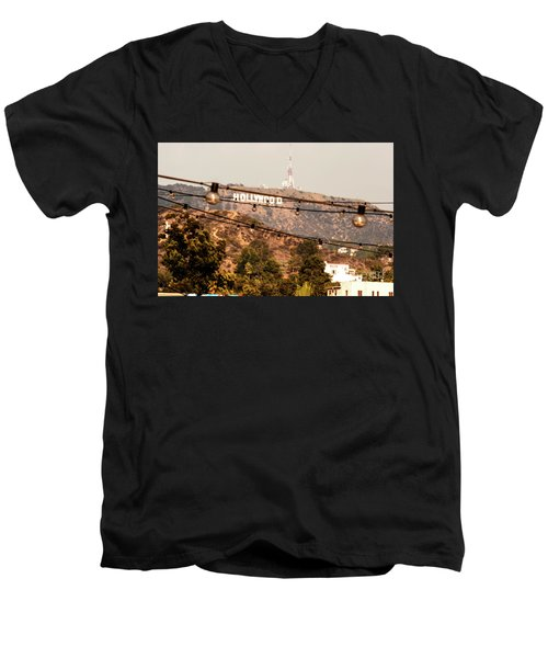 Men's V-Neck T-Shirt featuring the photograph Hollywood Sign On The Hill 3 by Micah May