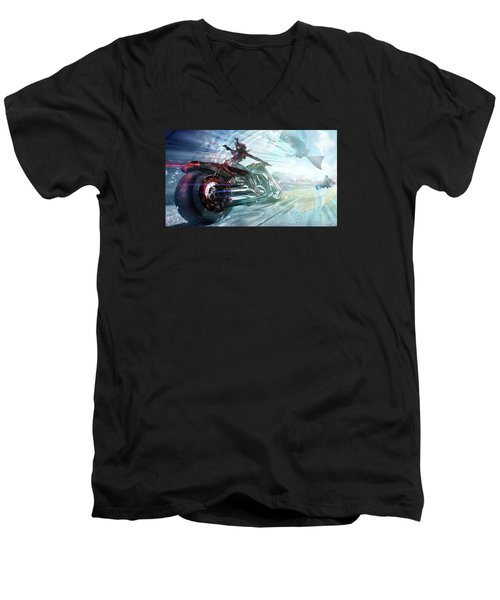 Men's V-Neck T-Shirt featuring the photograph Holy Crap That Is Fast. by Lawrence Christopher