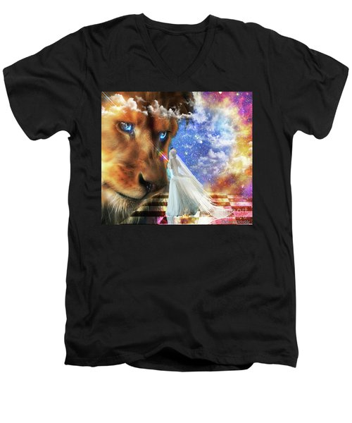 Men's V-Neck T-Shirt featuring the digital art  Divine Perspective by Dolores Develde