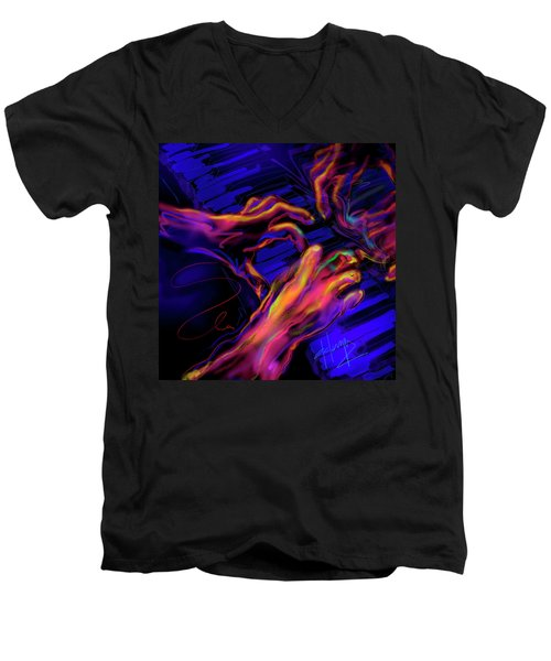 Men's V-Neck T-Shirt featuring the painting Home At Last by DC Langer