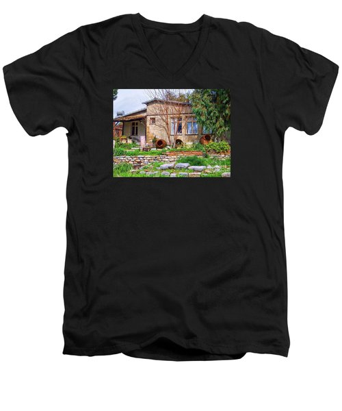 Men's V-Neck T-Shirt featuring the photograph Home In Greece by Roberta Byram