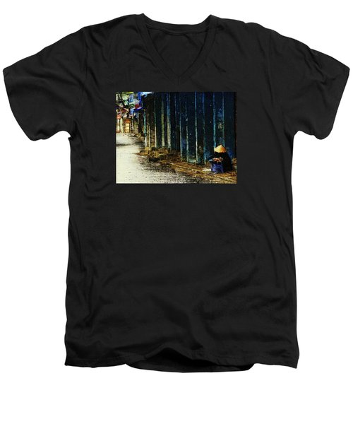 Men's V-Neck T-Shirt featuring the digital art Homeless In Hanoi by Cameron Wood