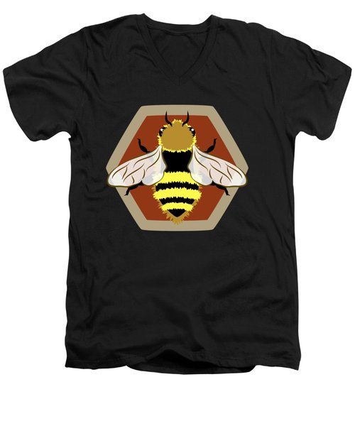Men's V-Neck T-Shirt featuring the digital art Honey Bee Graphic by MM Anderson