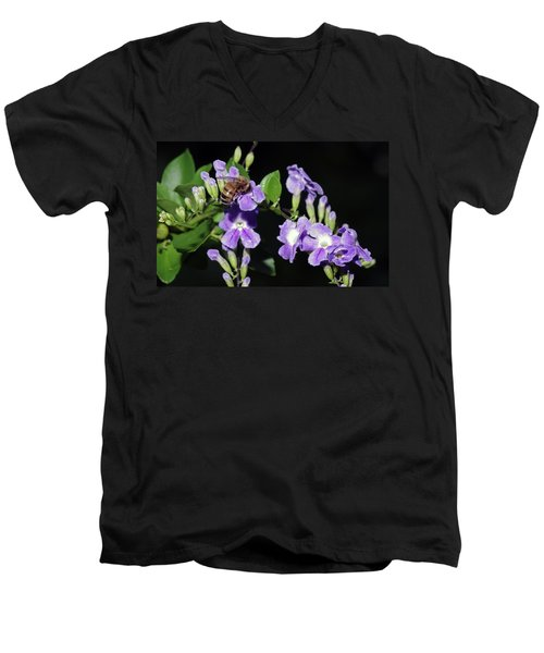 Men's V-Neck T-Shirt featuring the photograph Honeybee On Golden Dewdrop II by Richard Rizzo