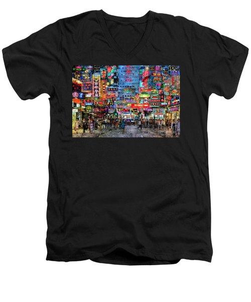 Hong Kong City Nightlife Men's V-Neck T-Shirt