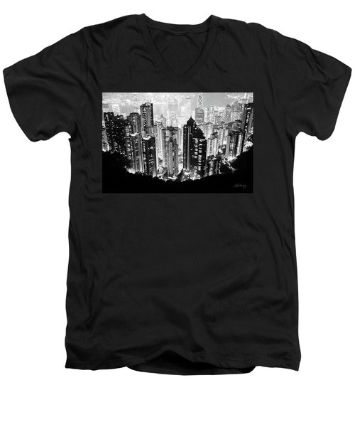 Hong Kong Nightscape Men's V-Neck T-Shirt by Joseph Westrupp