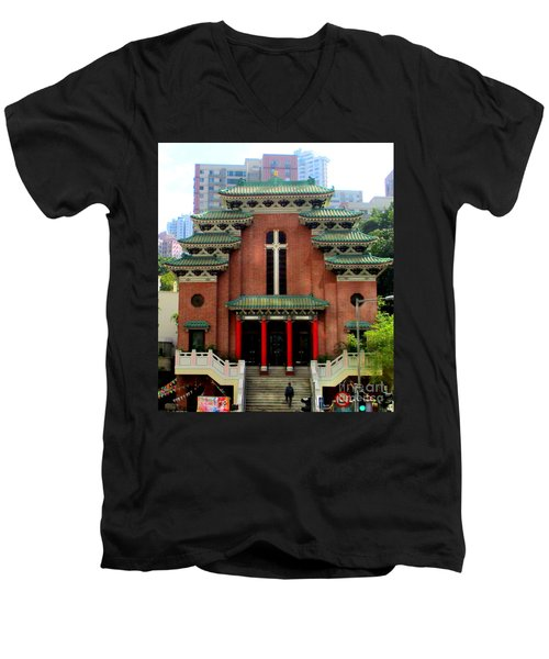 Men's V-Neck T-Shirt featuring the photograph Hong Kong Temple by Randall Weidner