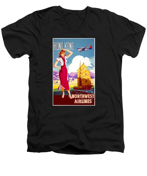 Hong Kong Vintage Travel Poster Restored Men's V-Neck T-Shirt