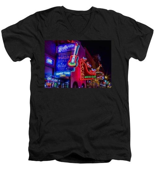 Honky Tonk Broadway Men's V-Neck T-Shirt by Stephen Stookey
