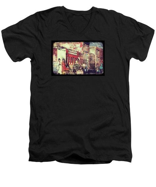 Honky Tonk Row - Nashville Men's V-Neck T-Shirt by Debra Martz