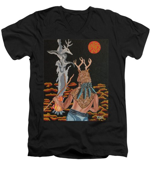 Men's V-Neck T-Shirt featuring the painting Honoring by Carolyn Cable
