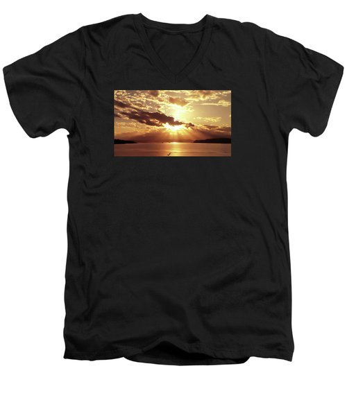Hood Canal Sunset Men's V-Neck T-Shirt by Eddie Eastwood