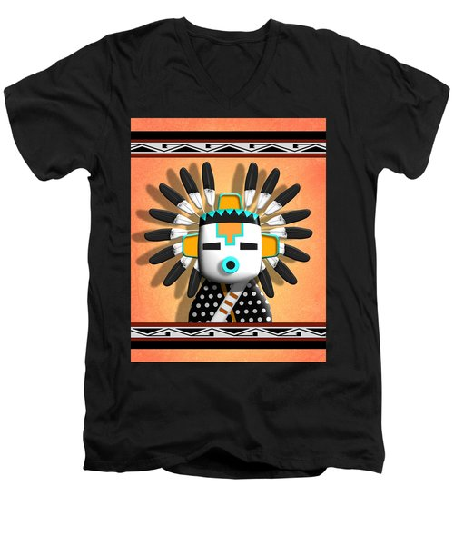 Hopi Kachina Mask Men's V-Neck T-Shirt by John Wills