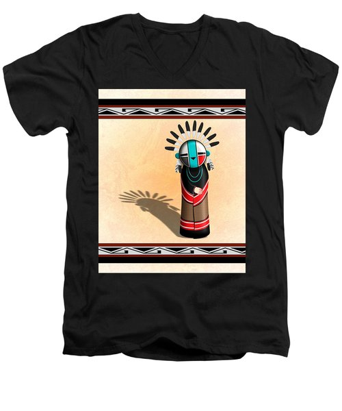 Hopi Sun Face Kachina Men's V-Neck T-Shirt by John Wills