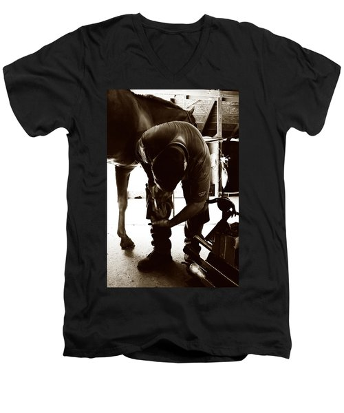 Horse And Farrier Men's V-Neck T-Shirt by Angela Rath