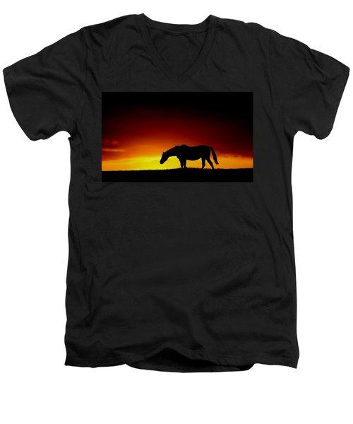 Horse At Sunset Men's V-Neck T-Shirt