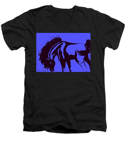 Horse In Blue And Black Men's V-Neck T-Shirt by Loxi Sibley