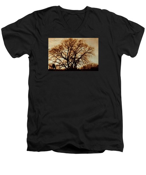 Horse In The Willows Men's V-Neck T-Shirt by Rena Trepanier