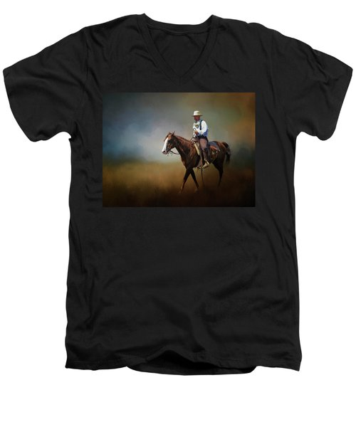 Men's V-Neck T-Shirt featuring the photograph Horse Ride At The End Of Day by David and Carol Kelly