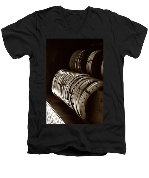 Horse Shoes In Sepia Men's V-Neck T-Shirt by Angela Rath