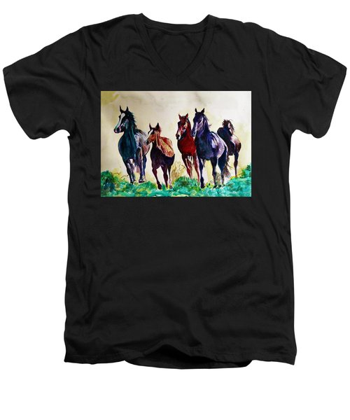 Horses In Wild Men's V-Neck T-Shirt