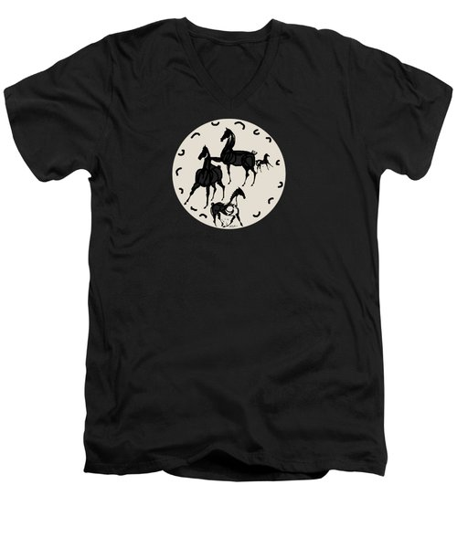 Horses Red Plate Men's V-Neck T-Shirt by Mary Armstrong