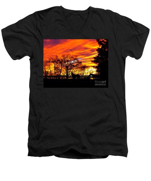 Horses Under A Painted Sky Men's V-Neck T-Shirt