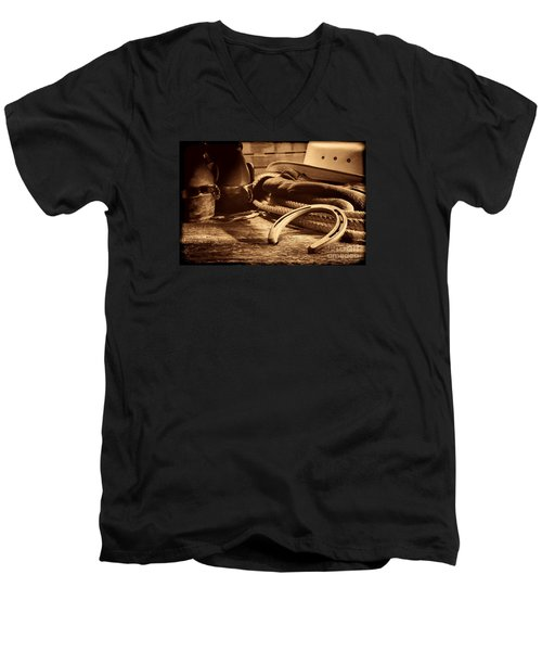 Horseshoe And Cowboy Gear Men's V-Neck T-Shirt