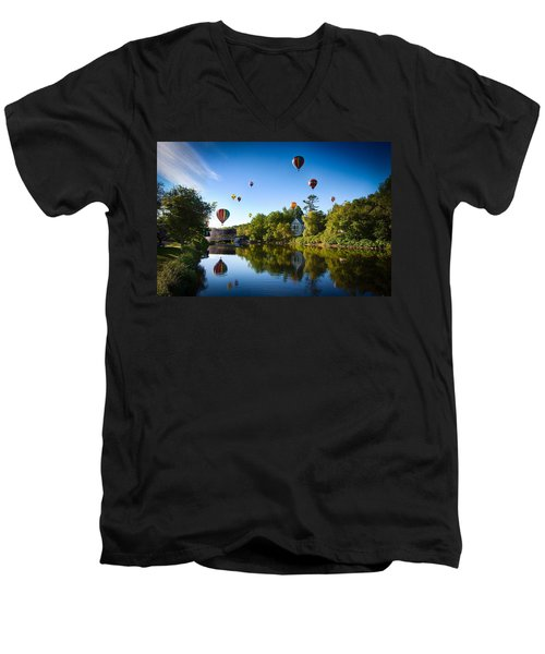 Hot Air Balloons In Queechee 2015 Men's V-Neck T-Shirt by Jeff Folger