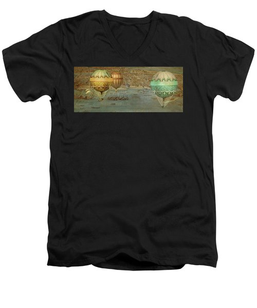 Men's V-Neck T-Shirt featuring the digital art Hot Air Baloons Over Venus by Jeff Burgess