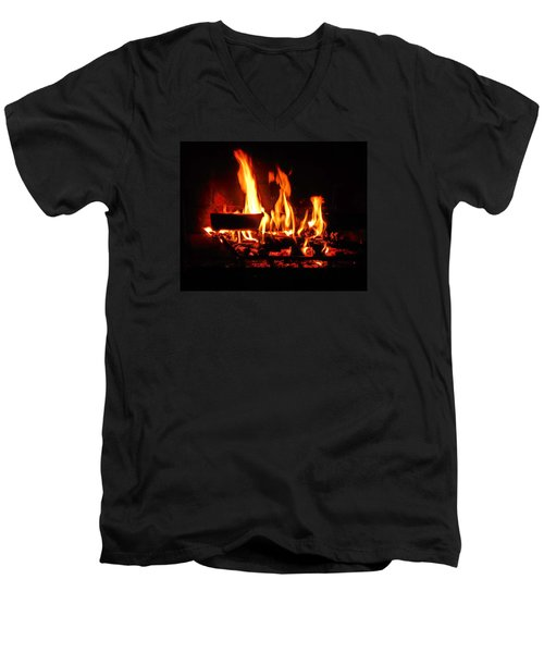 Men's V-Neck T-Shirt featuring the photograph Hot Coals by Steve Godleski