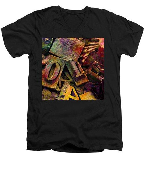 Hot Metal Type Men's V-Neck T-Shirt