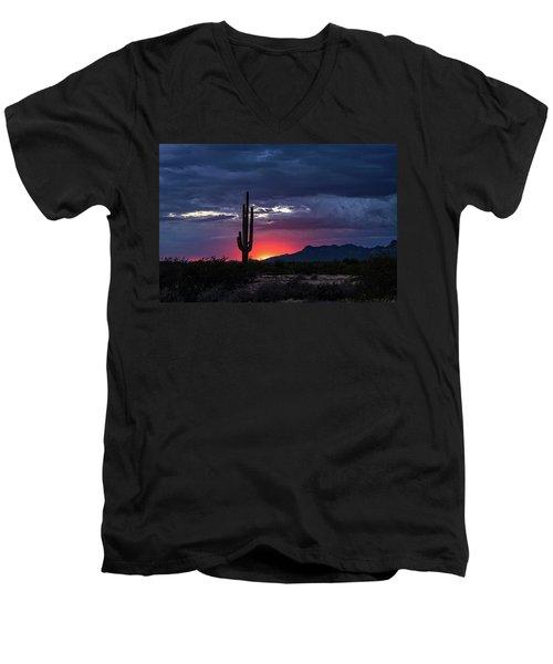 Men's V-Neck T-Shirt featuring the photograph Hot Pink Saguaro Sunset  by Saija Lehtonen