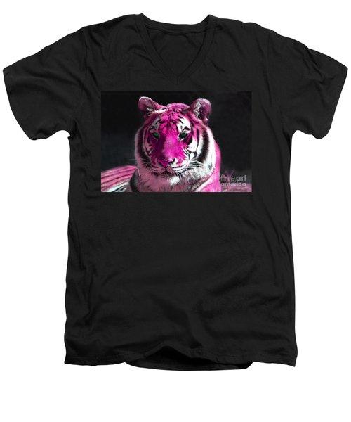 Hot Pink Tiger Men's V-Neck T-Shirt by Rebecca Margraf