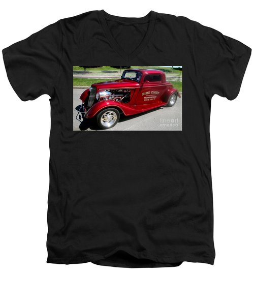 Hot Rod Chief Men's V-Neck T-Shirt by Kevin Fortier