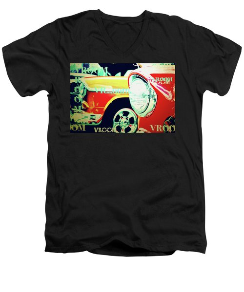 Hot Rods Go Vroom Vroom Men's V-Neck T-Shirt by Toni Hopper