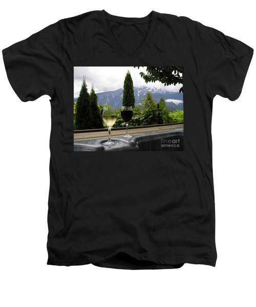 Hot Tub And Wine Men's V-Neck T-Shirt by Robert Meanor