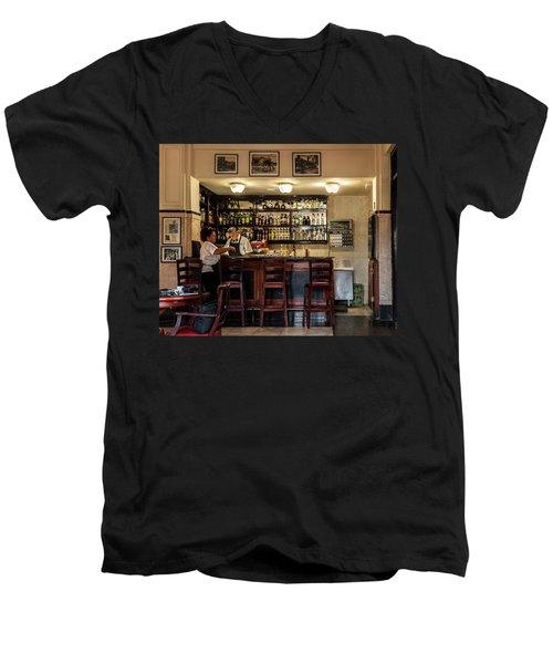 Men's V-Neck T-Shirt featuring the photograph Hotel Presidente Bar Havana Cuba by Charles Harden