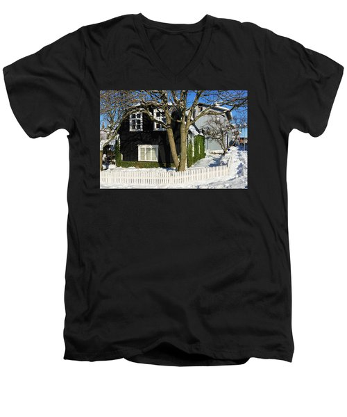 Men's V-Neck T-Shirt featuring the photograph House In Reykjavik Iceland In Winter by Matthias Hauser