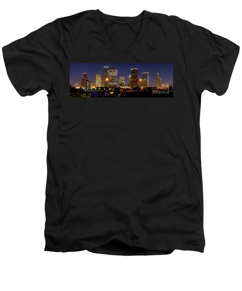 Houston Skyline At Night Men's V-Neck T-Shirt