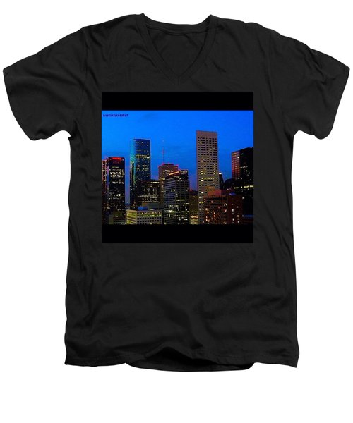 #houston #skyline At #night. #lights Men's V-Neck T-Shirt by Austin Tuxedo Cat