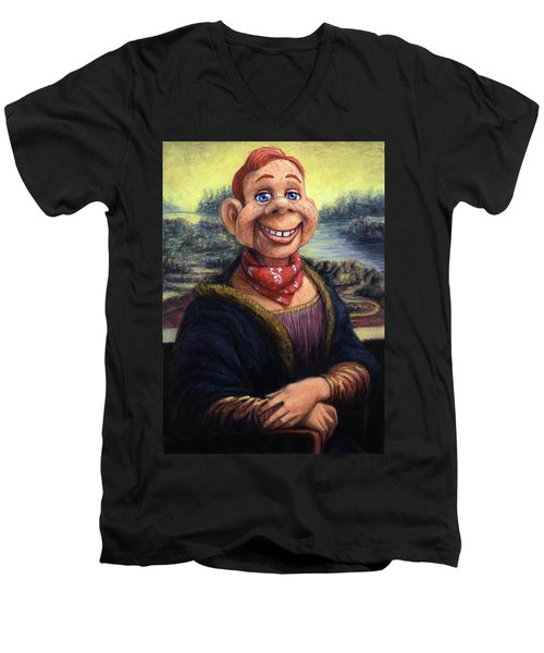 Men's V-Neck T-Shirt featuring the painting Howdy Doovinci by James W Johnson